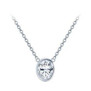Oval 1 Carat Bezel Set Diamond Pendant Necklace